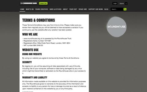 Screenshot of Terms Page roundhouse.org.uk - Terms & Conditions - captured Sept. 24, 2014