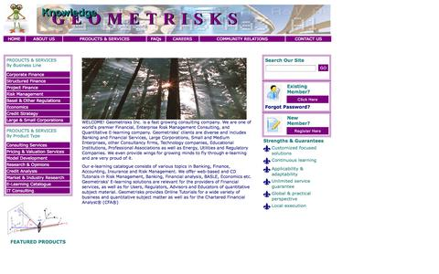 Screenshot of Home Page geometrisks.com - Geometrisks Inc. - captured Oct. 2, 2014
