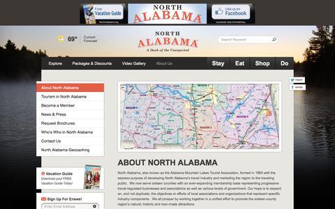 Screenshot of About Page northalabama.org - About North Alabama |North Alabama Travel Tourism & Vacations - captured May 21, 2016