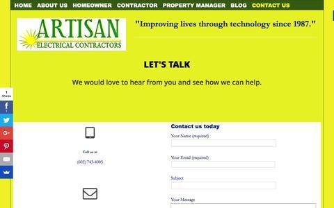 Screenshot of Contact Page artisanelectric.com - Contact Us - Artisan Electric - captured Feb. 6, 2016