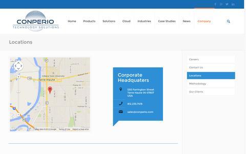 Screenshot of Locations Page conperio.com - Locations | Conperio Technology Solutions | Conperio - captured Nov. 2, 2014