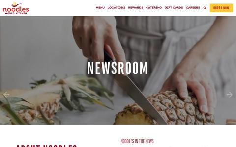 Screenshot of Press Page noodles.com - Newsroom ~ Noodles World Kitchen - captured May 17, 2018