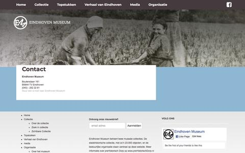 Screenshot of Contact Page eindhovenmuseum.nl - Eindhoven Museum - Contact - captured July 17, 2018