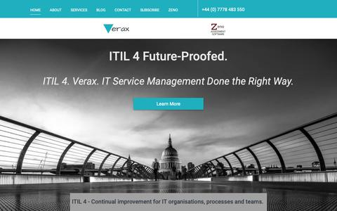 Screenshot of Home Page verax-consulting.com - ITIL 4 Future Proofed - Verax: IT Service Management Experts - captured Nov. 17, 2018