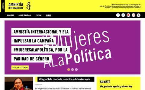 Screenshot of Home Page amnistia.org.ar - Amnistía Internacional Argentina   Defendemos los derechos humanos - captured Nov. 24, 2016