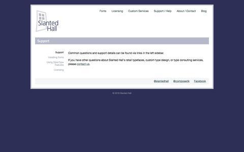 Screenshot of Support Page slantedhall.com - Support | Slanted Hall - captured Sept. 21, 2018