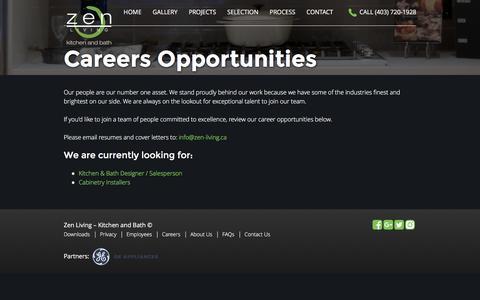 Screenshot of Jobs Page zen-living.ca - Careers - Zen Living - captured Aug. 17, 2016