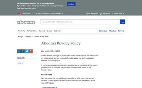 Screenshot of Privacy Page abcam.com - Abcam's Privacy Policy | Abcam - captured July 12, 2018