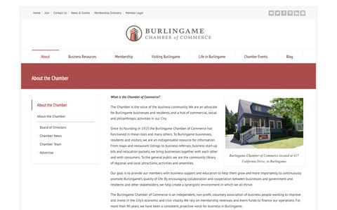 Screenshot of About Page burlingamechamber.org - About the Chamber - Burlingame Chamber of Commerce - captured Oct. 7, 2018