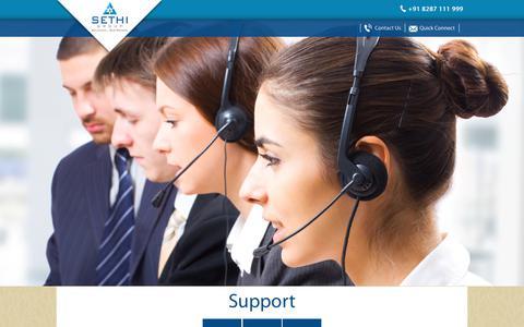 Screenshot of Support Page sethigroup.in - Sethi Group - captured June 12, 2017