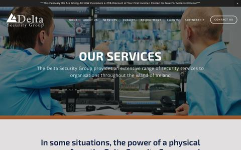 Screenshot of Services Page deltasecurity.ie - Services — Delta Security Group | Delta Security | Event Security | Door Supervision | Nightclub Security | Static Security | - captured Feb. 15, 2016