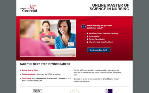 Screenshot of Landing Page uc.edu - UC MSN | Online Nursing Degree at the University of Cincinnati - captured Oct. 27, 2014