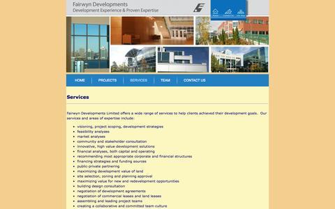 Screenshot of Services Page fairwyn.ca - Fairwyn Developments Halifax Nova scotia > Services - captured Oct. 5, 2014