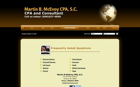 Screenshot of FAQ Page martymcevoy.com - Viroqua, WI Accounting Firm | Frequently Asked Questions Page | Martin B McEvoy CPA, S.C. - captured Oct. 27, 2014