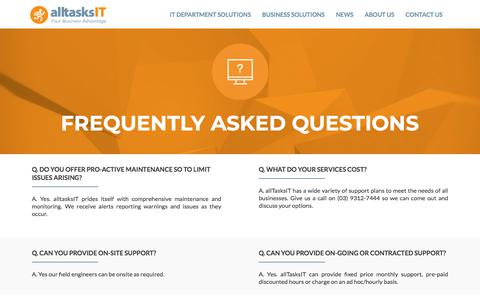 Screenshot of FAQ Page alltasks.com.au - Frequently asked questions – alltasksIT - captured Aug. 22, 2019