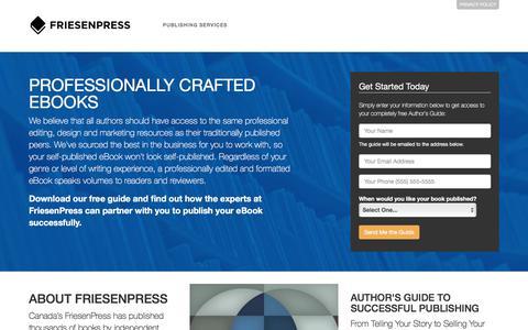 Screenshot of Landing Page friesenpress.com - Publish your eBook - captured March 2, 2018