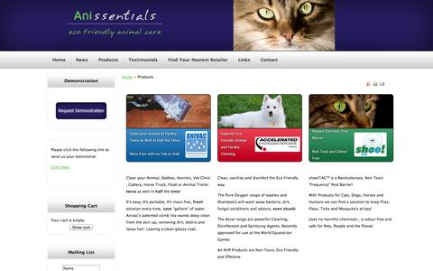 Screenshot of Products Page anissentials.co.nz - Products - captured Oct. 7, 2014
