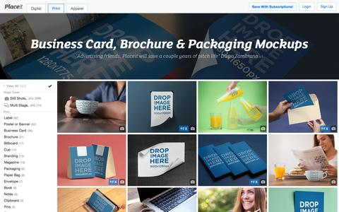 Screenshot of placeit.net - Free Business Card, Brochures, Posters, Magazines Mockups. Download them free! - captured March 19, 2016