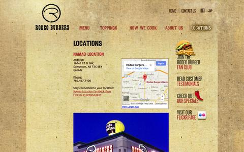 Screenshot of Locations Page rodeoburgers.com - Locations | Rodeo Burgers - captured Oct. 7, 2014