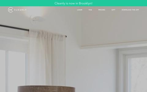 Screenshot of Home Page getcleanly.com - Cleanly - On-Demand Laundry & Dry-Cleaning Delivery App NYC - captured Jan. 27, 2016