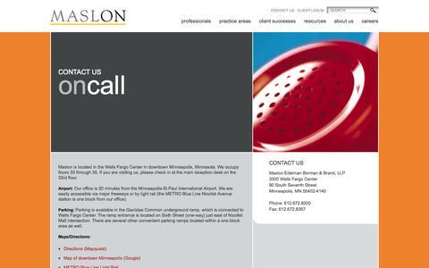 Screenshot of Contact Page maslon.com - Contact US - Maslon - captured Oct. 27, 2014
