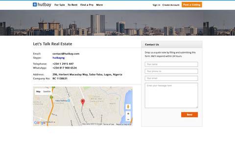 Screenshot of Contact Page hutbay.com - Contact Us  | Hutbay Nigeria - captured Oct. 28, 2015