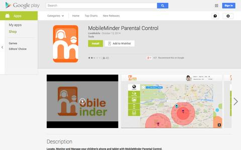 Screenshot of Android App Page google.com - MobileMinder Parental Control - Android Apps on Google Play - captured Oct. 26, 2014