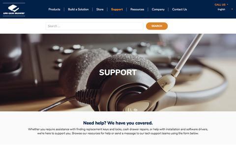 Screenshot of Support Page cashdrawer.com - Support - APG Cash Drawer - captured July 4, 2018