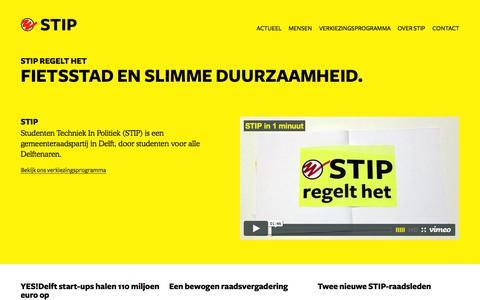 Screenshot of Home Page stipdelft.nl - STIP, Studenten techniek in politiek - captured Oct. 3, 2014