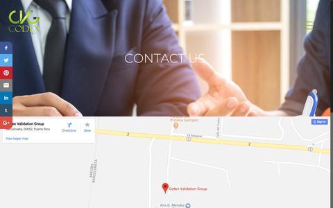 Screenshot of Contact Page codexvalidationgroup.com - CONTACT US – Codex Validation Group - captured July 19, 2018