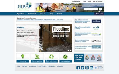 Screenshot of Home Page sepa.org.uk - Scottish Environment Protection Agency (SEPA) Homepage - captured Jan. 18, 2016
