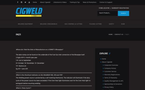 Screenshot of FAQ Page cigweld.com.au - FAQ's – Cigweld - captured July 9, 2017