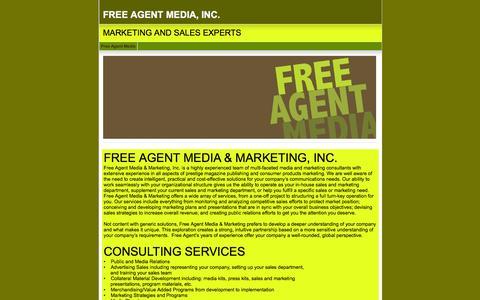Screenshot of Home Page freeagentmedia.com - FREE AGENT MEDIA, INC. - captured Jan. 8, 2016