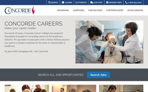 Screenshot of Jobs Page concorde.edu - Careers With Concorde | Concorde Career Colleges - captured Sept. 24, 2014
