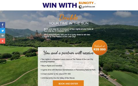 Screenshot of Landing Page go2africa.com - Book and Win! | Sun City South Africa - captured Sept. 13, 2017