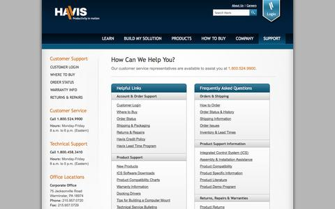 Screenshot of Support Page havis.com - Vehicle Computer Mount, Laptop in Car Office, Police Console | Havis - captured Sept. 19, 2014