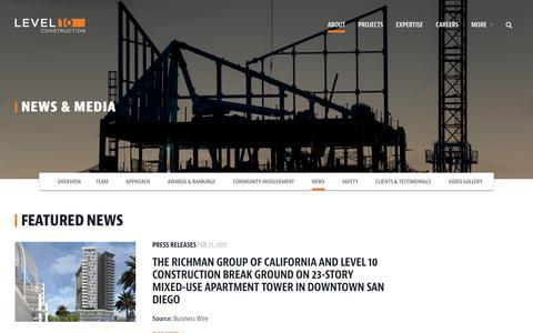 Screenshot of Press Page level10gc.com - News & Media     Level 10 Construction - captured Aug. 2, 2017