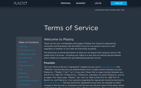 Screenshot of Terms Page plastiq.com - Terms of Service | Plastiq - captured Feb. 17, 2018