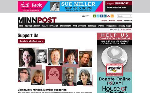 Screenshot of Support Page minnpost.com - Support Us | MinnPost - captured Sept. 19, 2014