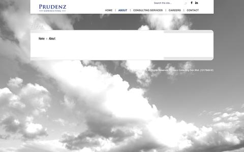 Screenshot of About Page prudenzconsulting.com - About   Prudenz Consulting Sdn Bhd - captured Sept. 30, 2014