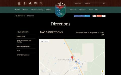 Screenshot of Maps & Directions Page worldgolfhalloffame.org - Directions - captured Dec. 13, 2016