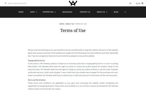 Screenshot of Terms Page yaynovelty.com - Terms of Use - captured July 27, 2018