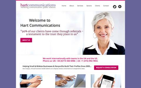 Screenshot of Home Page hart-communications.com - Hart Communications - Marketing, Communications, Public Relations - with more than 20 years experience in our field. Homepage - Welcome - captured Sept. 29, 2014