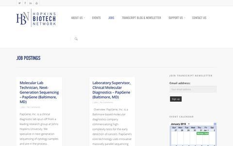 Screenshot of Jobs Page hopkinsbio.org - Job Postings - Hopkins Biotech Network - captured Jan. 31, 2016