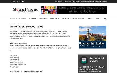 Screenshot of Privacy Page metroparent.com - Metro Parent Privacy Policy - Detroit and Ann Arbor Metro Parent - captured Aug. 3, 2018