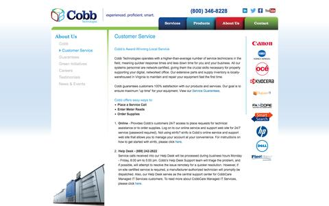 Screenshot of Support Page cobbtechnologies.com - Customer Service - Cobb Technologies - captured July 14, 2016