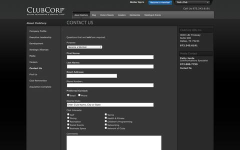 Screenshot of Contact Page clubcorp.com - Contact Us / About ClubCorp / Home - ClubCorp - captured Oct. 27, 2014