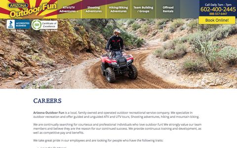 Screenshot of Jobs Page arizonaoutdoorfun.com - Career Listings | Arizona Outdoor Fun - captured May 30, 2017
