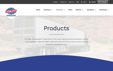 Screenshot of Products Page utilitytrailerore.com - Products - Utility Trailer Sales of Oregon - Commercial Trailer Dealership - captured Nov. 15, 2018