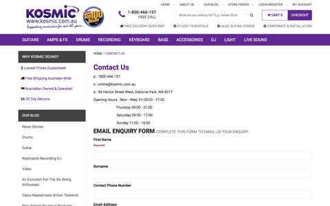 Screenshot of Contact Page kosmic.com.au - Contact Us - captured Nov. 13, 2016